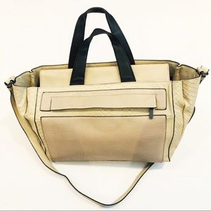 French Connection Cream & Navy Satchel Bag